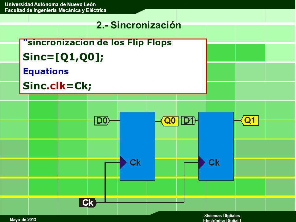 2.- Sincronización Sinc=[Q1,Q0]; Sinc.clk=Ck;
